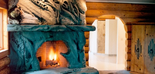 While this creative carved fireplace may as well exist in Middle Earth.