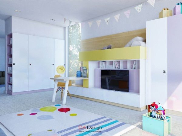Pretty pennants hanging from the ceiling are a minimal but adorable addition.