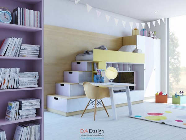 This next room has many of the same useful features, in a more feminine color palette.