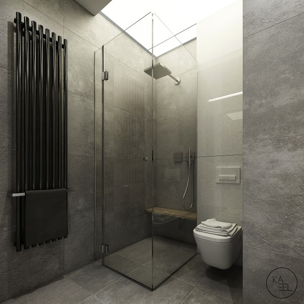 The minimalist bathroom includes a luxurious shower and those same gray textured walls.