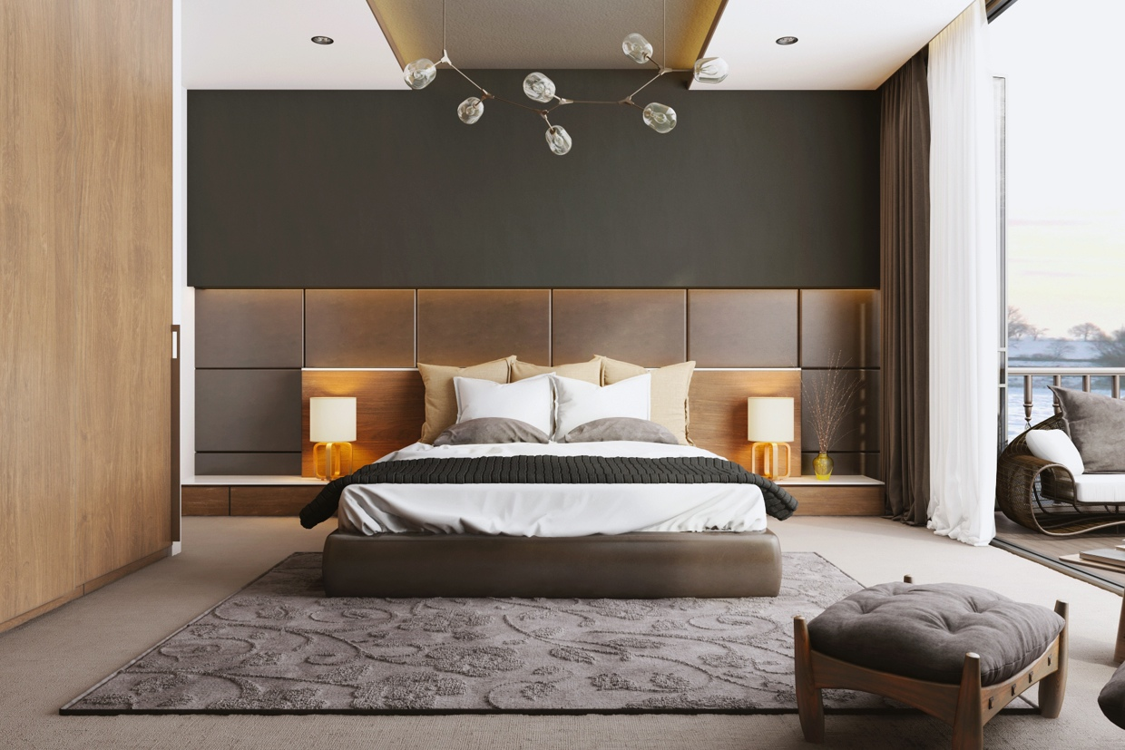 Stylish bedroom designs with beautiful creative details for Couleur de chambre moderne