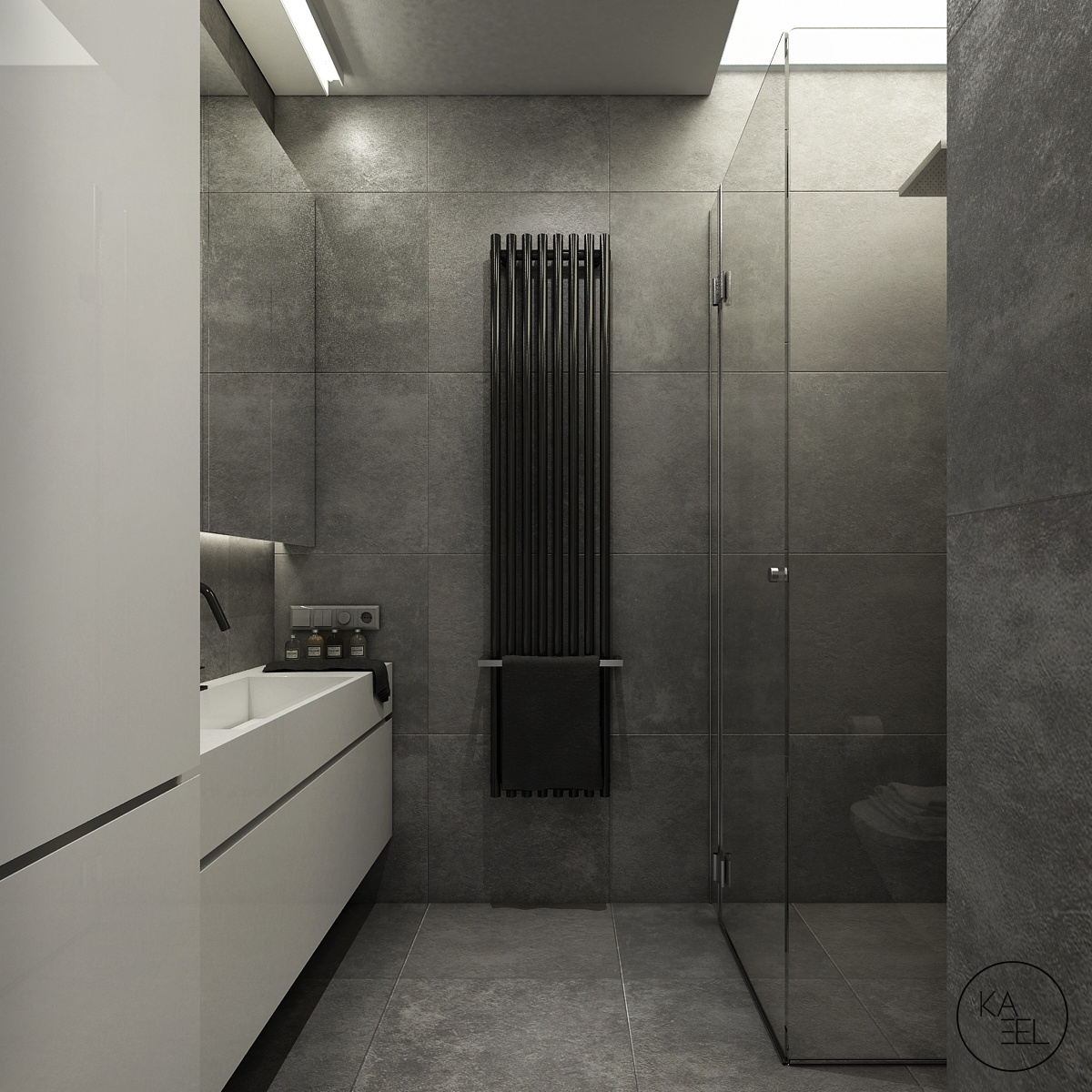 Slate tile bathroom interior design ideas for Slate tile bathroom ideas