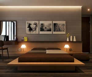 The bedroom takes a few of the same cues and keeps things simple, but here visualizer Quang Đạt has add some sultry art choices and deeper colors, giving it a bit more of an edge.