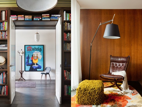 The older part of the home opens up to the addition almost as if you're stepping through a portal into the future. The bookshelves surrounding the double doors are a lovely touch.