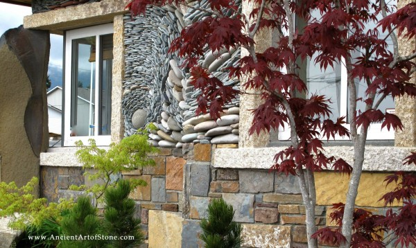 The technique is also appealing on exteriors, as seen here, contrasting with more standard stone work below.