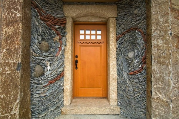 Stone entryways give visitors an immediate impression of a welcoming and creative home.
