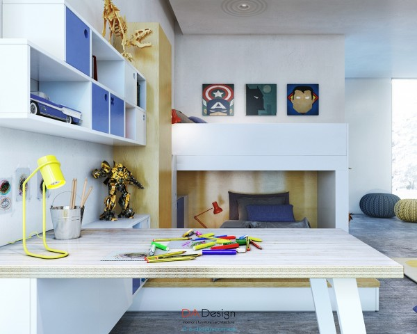 By including certain playful elements like simplified superhero art and a wooden dinosaur skeleton, the room creates a sense of whimsy without seeming immature.