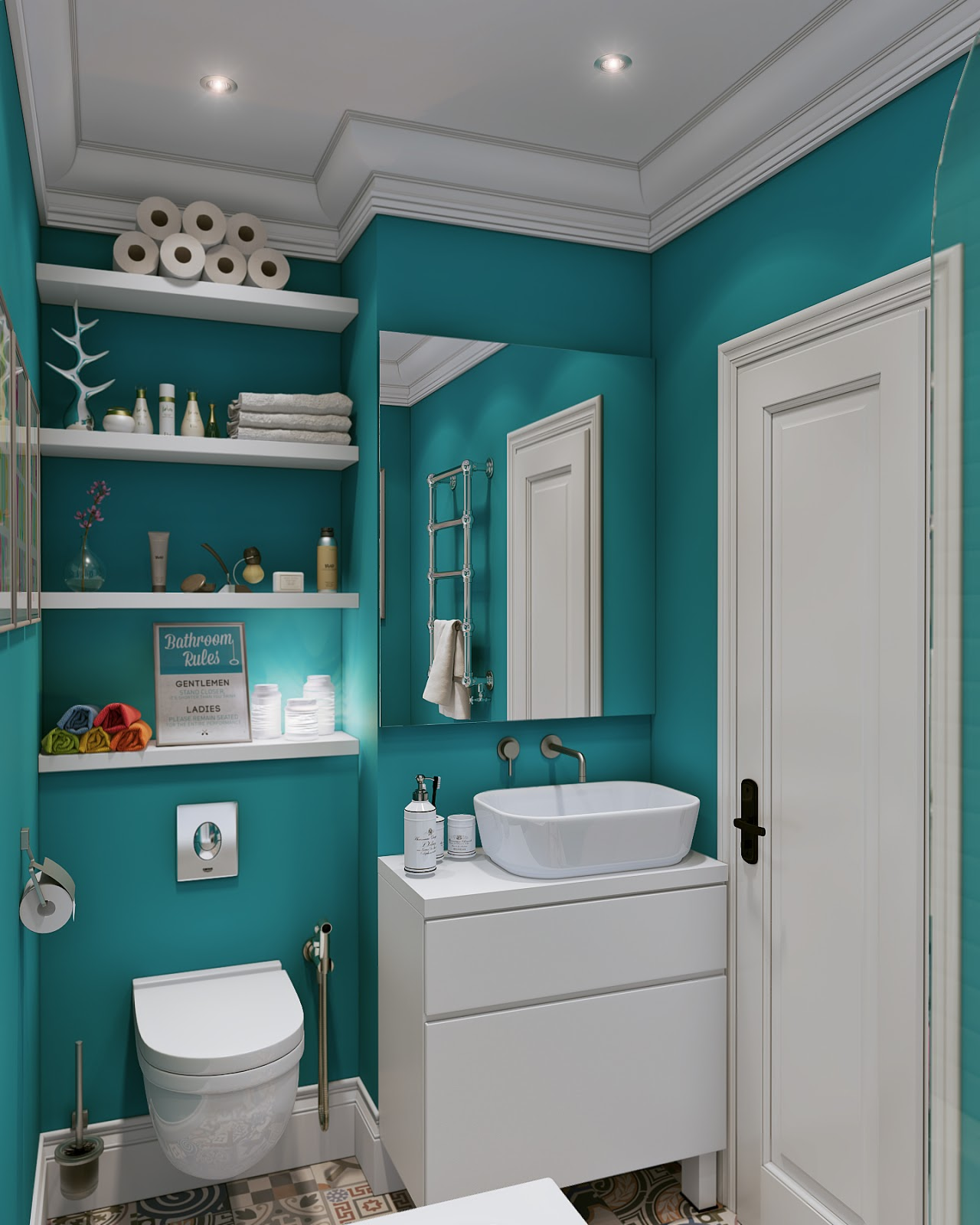 Small open plan home interiors for Teal and gray bathroom ideas