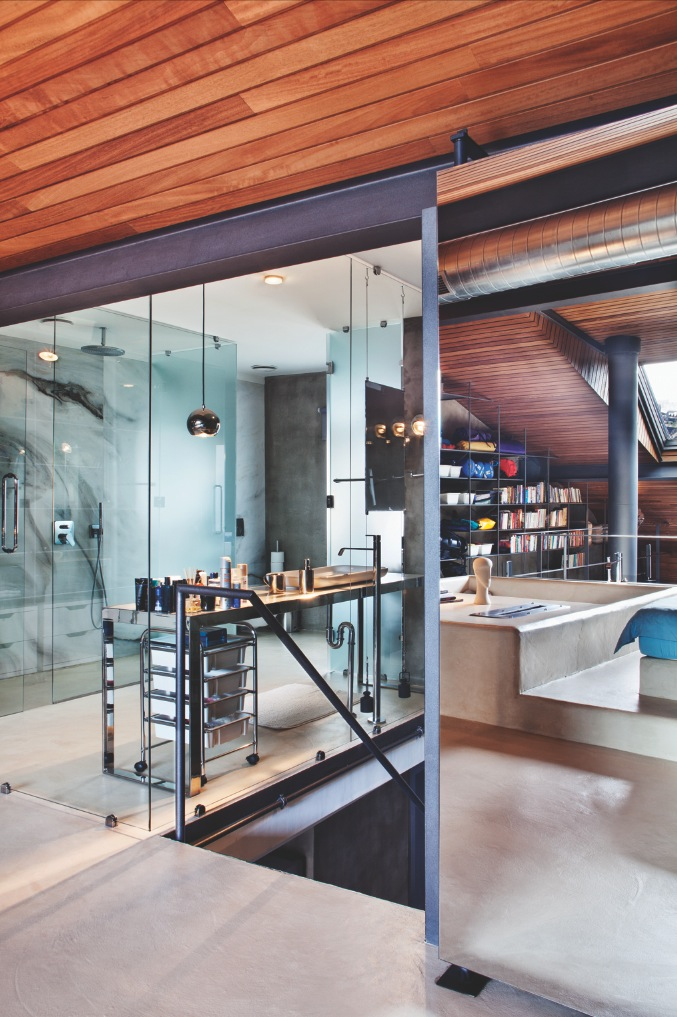 Ultra Modern Bathroom - Karakoy loft uses rich wood features and creative industrial elements