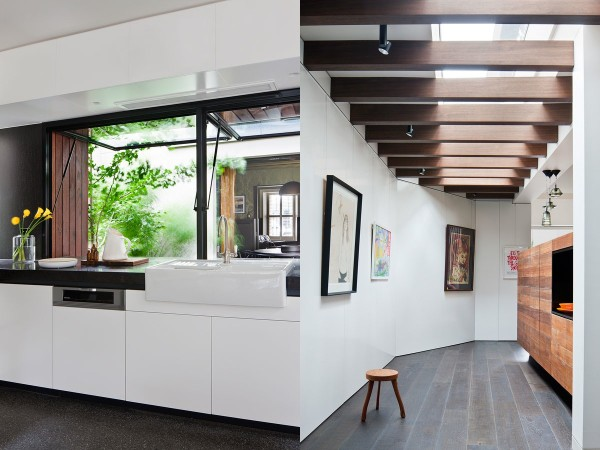 Exposed ceiling beams and creative windows add to the modern flair of the back addition.