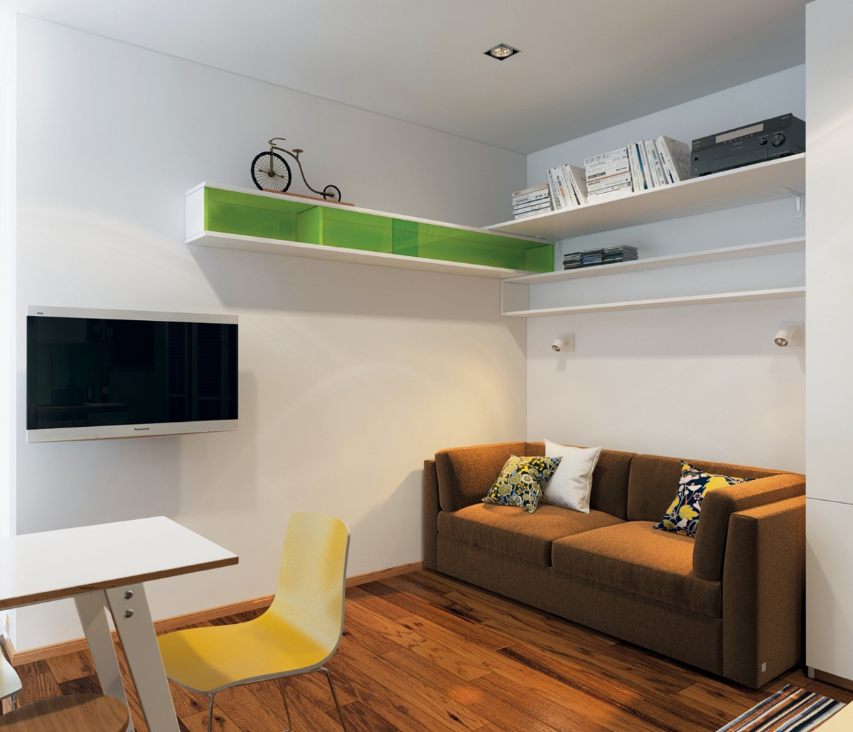 Homes under 400 square feet 5 apartments that squeeze for Living room 10 square meters