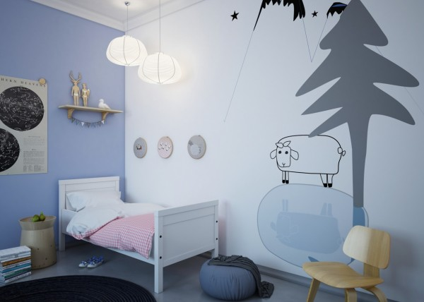 Animal themes are not unusual for kids rooms, but these whimsical interpretations make them feel more artistic than cutesy.