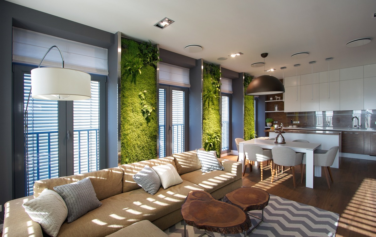 Vertical garden walls add life to apartment interior for Decoration de salon interieur