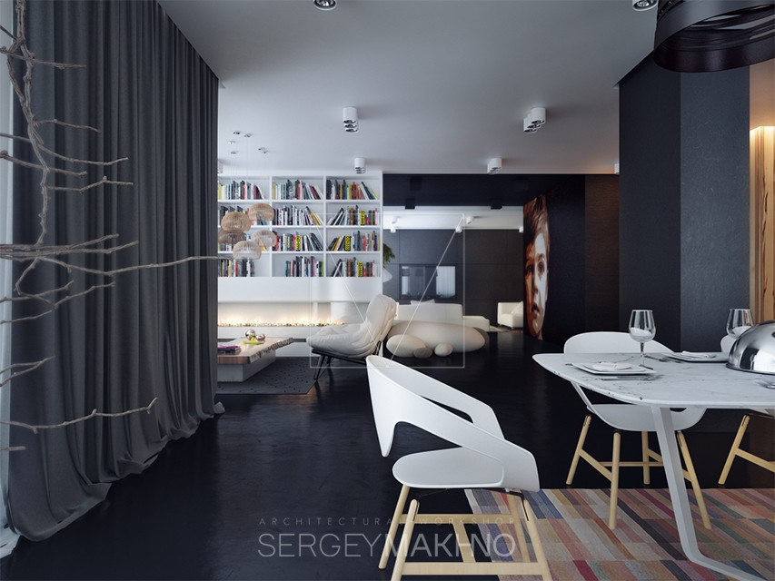 Awesome Apartment Design - Kiev apartment showcases sleek design with surprising playful elements