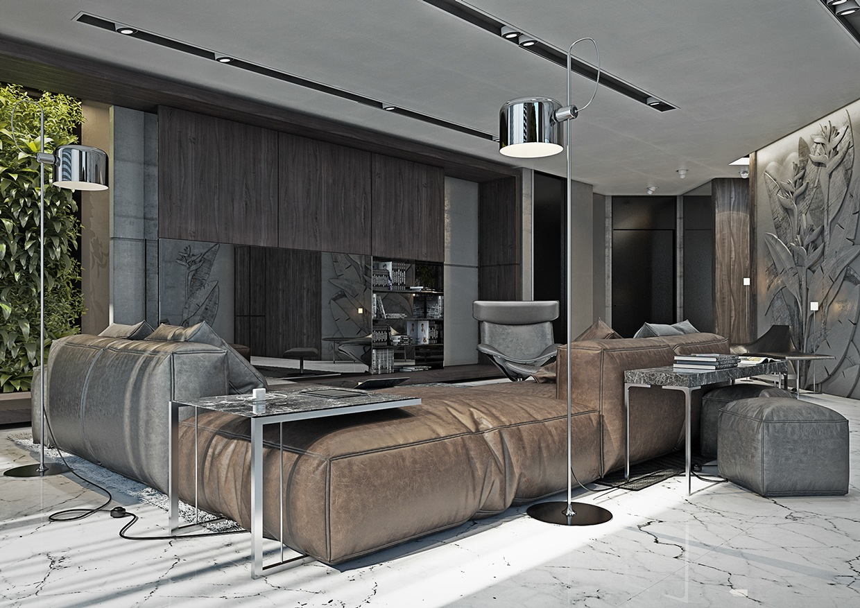 4 masculine apartments with super comfy sofas and sleek for As interior design