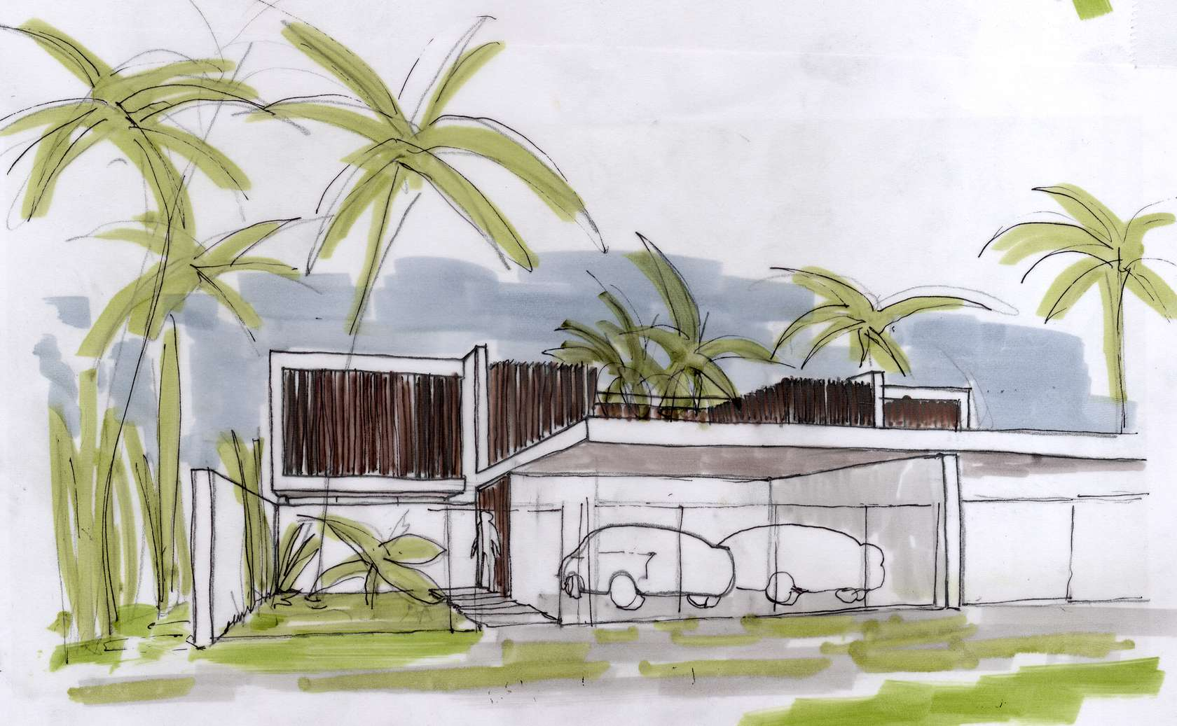 Beach villa sketch interior design ideas for Beach villa design ideas