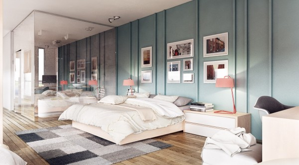 In the bedroom, a different lovely color scheme takes over. A combination of subdued green and pinkish coral has an innocent, candy flavor to it.