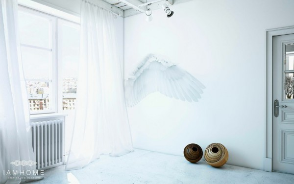 Angel wings give the space even more ethereal appeal.