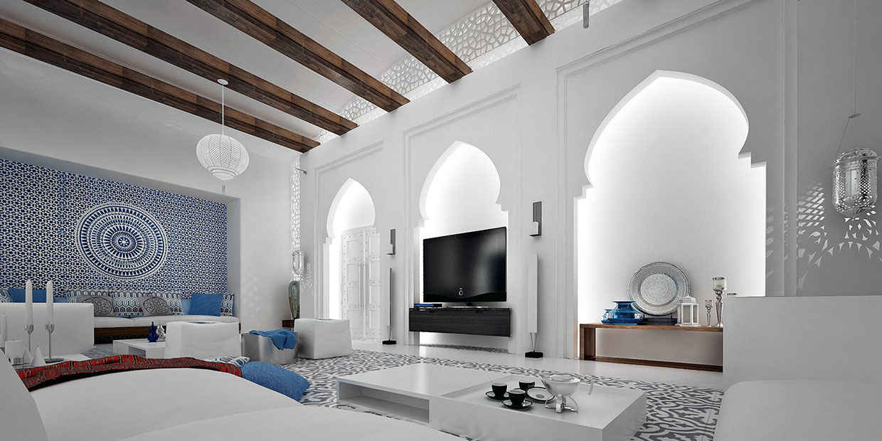 Moroccan style interior design for Beautiful interior decoration of houses