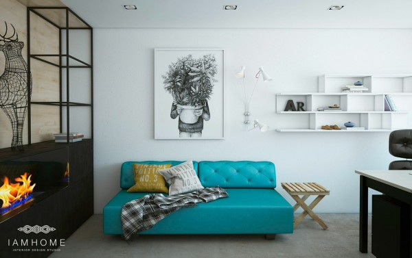 A bright sofa and fireplace mean welcoming clients into the home is also possible, when necessary.