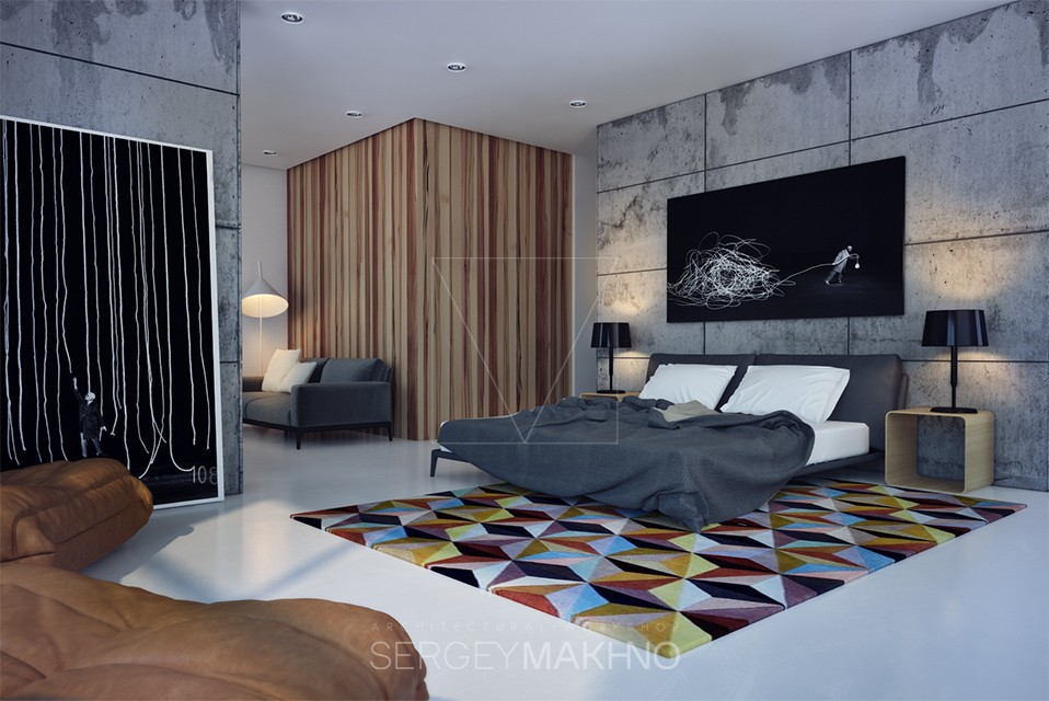Bedroom Design - Kiev apartment showcases sleek design with surprising playful elements