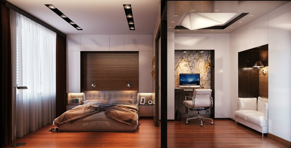 bedroom with office area interior design ideas