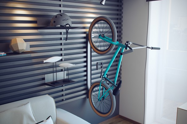 They even have a place for the most essential accessory for a suburban teen: a bike.