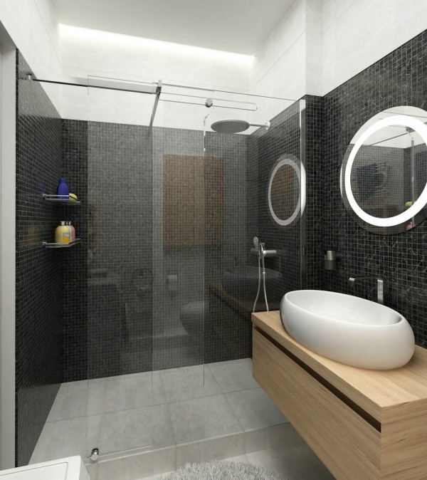 A sleek tiled bathroom with cool, 80's-inspired fixtures is just artsy enough without losing any functionality.