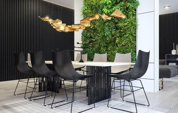 This time it's the dining room that features the living wall, and does so quite dramatically.