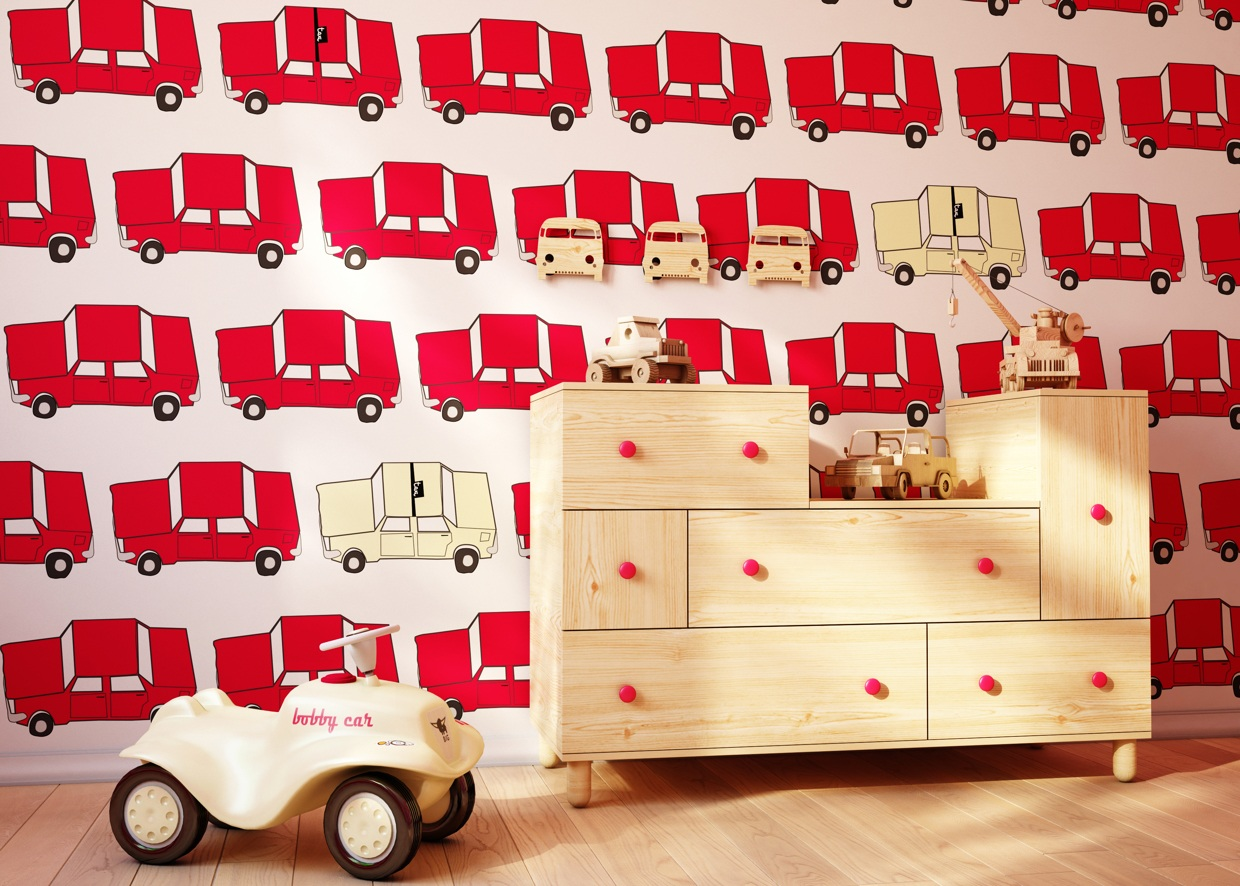Car Themed Wallpaper - Cute kids rooms by fajno design