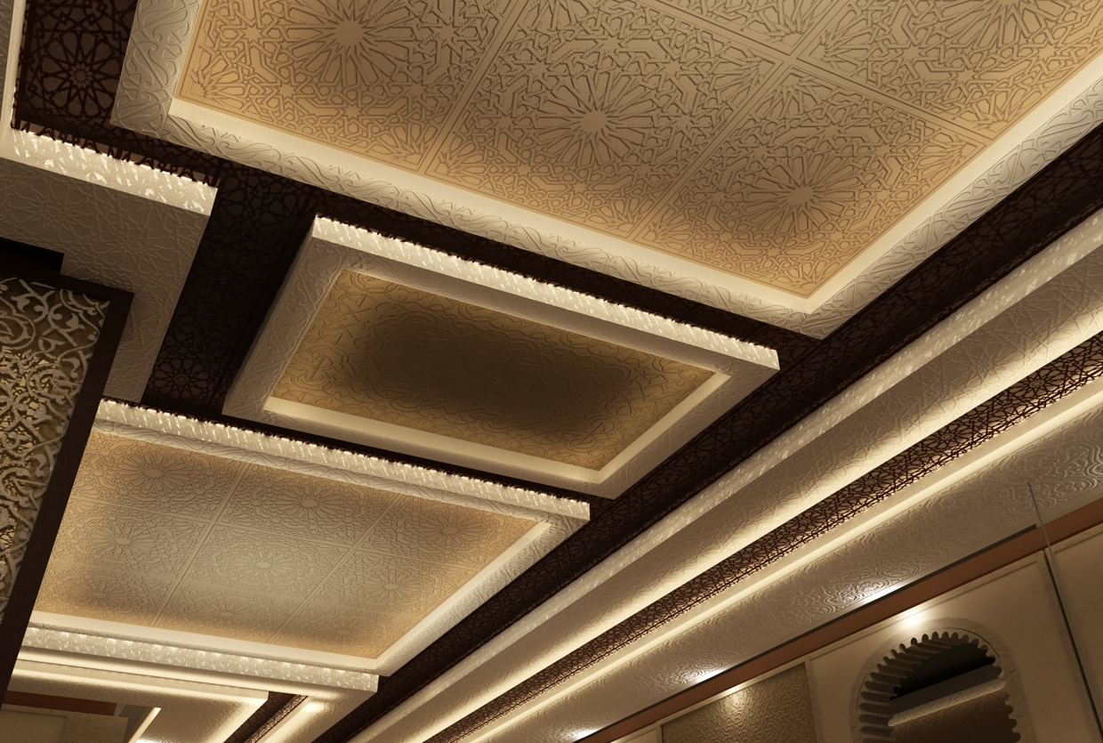 Carved Ceiling Tiles - Moroccan style interior design
