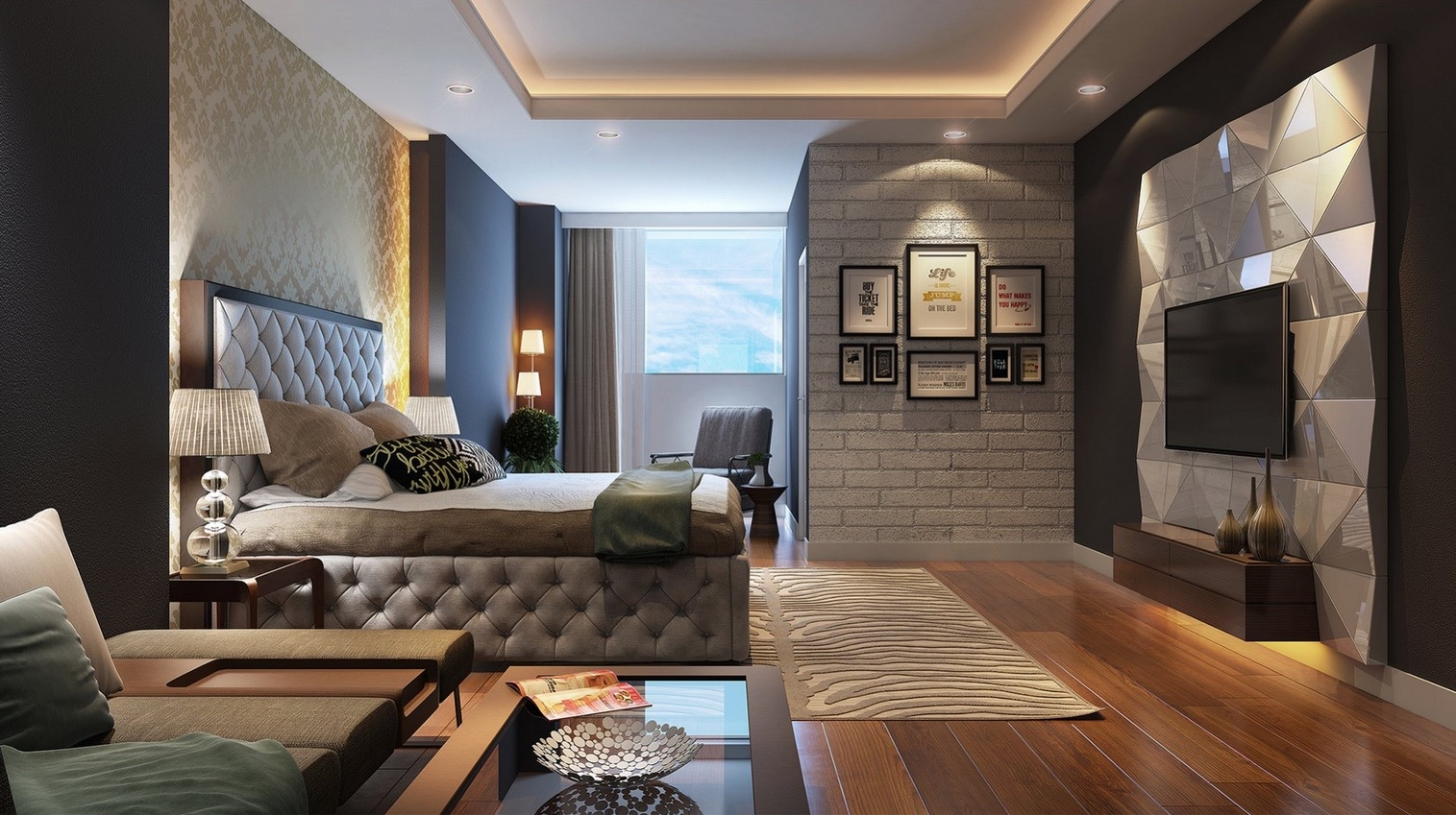 cool tones and soft textures still make this bedroom quite inviting