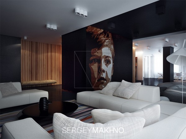 The oversized art pops against the otherwise black and white palette in this room.