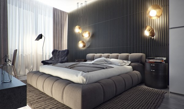With a creatively tufted bed, large area rug and slatted walls, the bedroom makes interesting use of texture, creating a sense of being enveloped and safe.