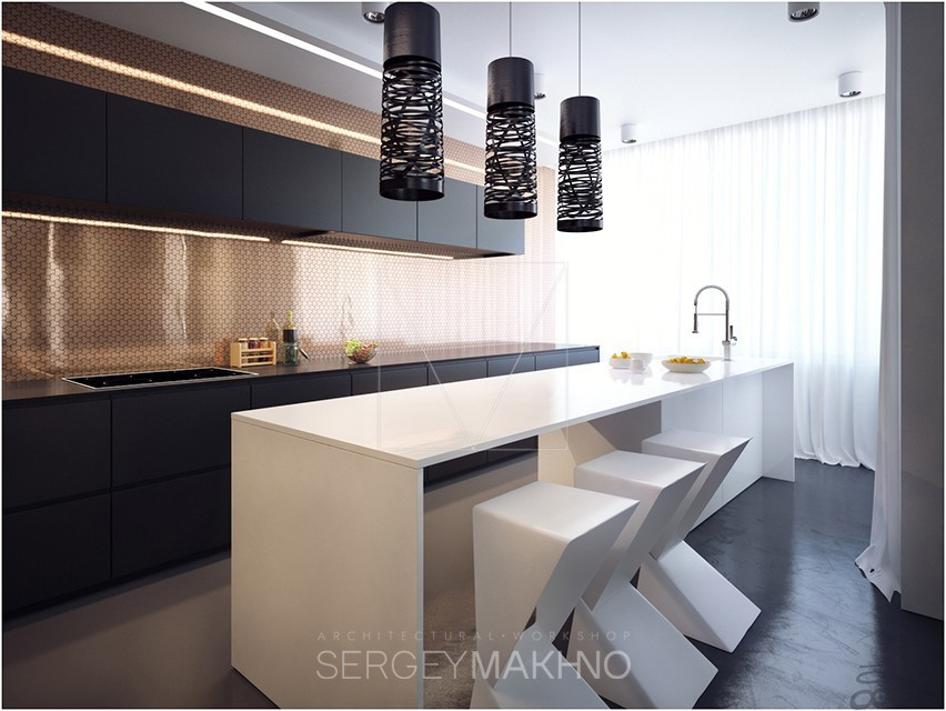 Cool Kitchen - Kiev apartment showcases sleek design with surprising playful elements