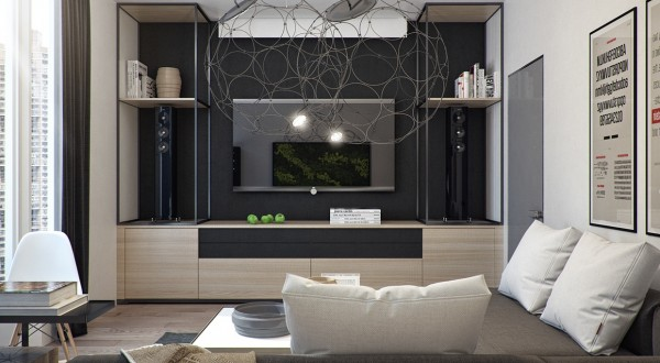 Wire light fixtures in the living room are large, but because the design is so open they don't cut off any space.