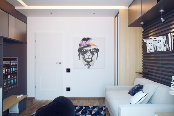Simple but creative wall art brings a real hipness to an otherwise plain white wall.
