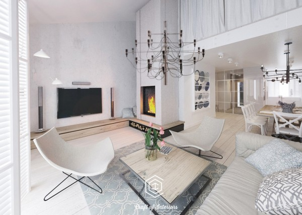 Though the pattern does not make it into the living room, there are still plenty of playful elements, including a neat chandelier and a modern fireplace.