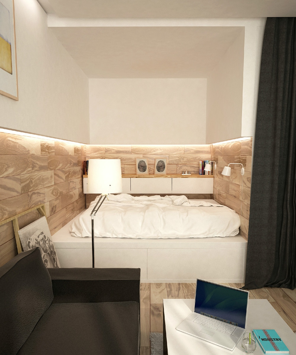 Cozy Bed Area - 2 simple super beautiful studio apartment concepts for a young couple includes floor plans