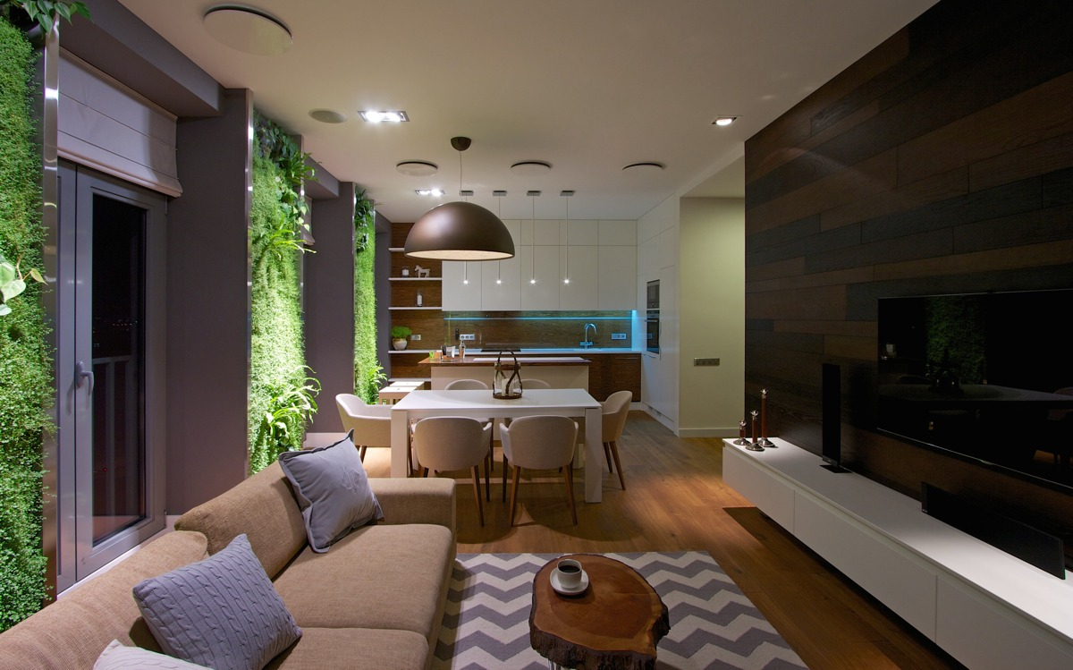 Apartment Inside Night vertical garden walls add life to apartment interior