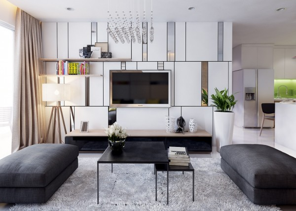 An accent wall in the living room uses Mondrian-inspired shapes to help the mounted television blend in, almost as if it is a work of art in itself.