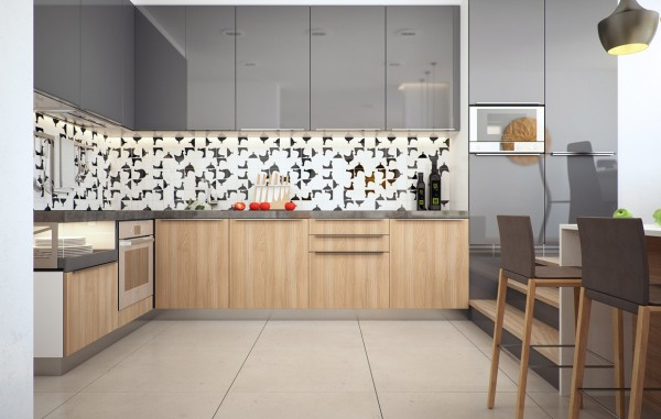 Other elements, however, such as a patterned backsplash in the kitchen and colorful wall art, keep the overall feeling light and livable.
