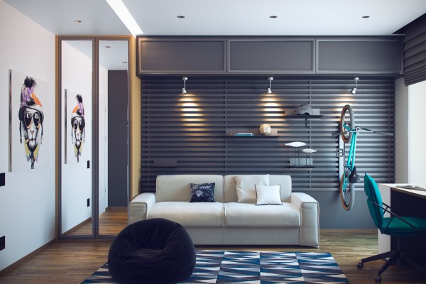 The creative slats on one wall work as a module storage system.