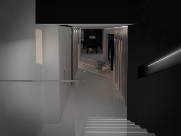 A long corridor connects the open living area, which includes the kitchen and dining area, with the bedrooms.    The stripe design in the hallway emphasizes the area of travel and flow.