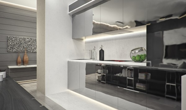 Reflective kitchen cabinetry makes light bounce around the room playfully but looks super slick.