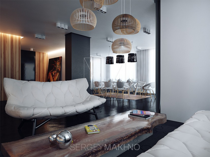 Creative living room interior design ideas A sleek apartment the divides rooms creatively