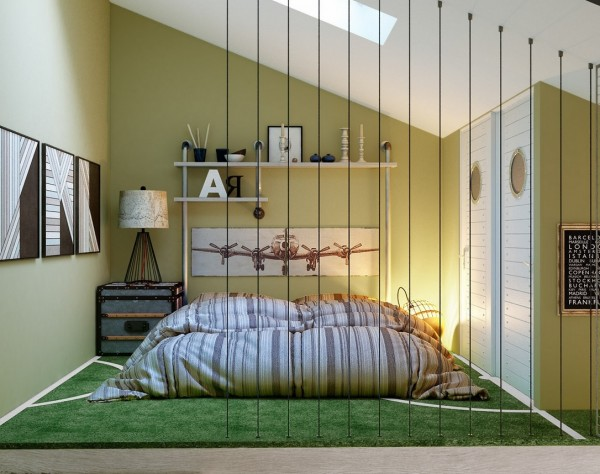 The bed is  low to the ground and separated from the rest of the room with a creative divider element.