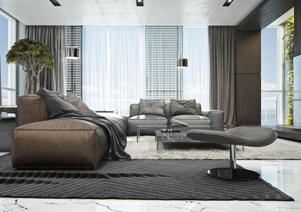4 masculine apartments with super comfy sofas and sleek color palettes. Black Bedroom Furniture Sets. Home Design Ideas
