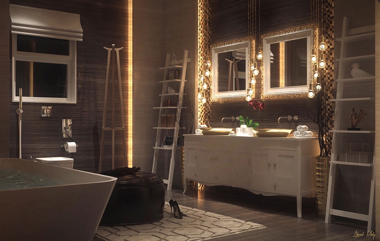 Ultra luxury bathroom inspiration for Meuble salle de bain rustique