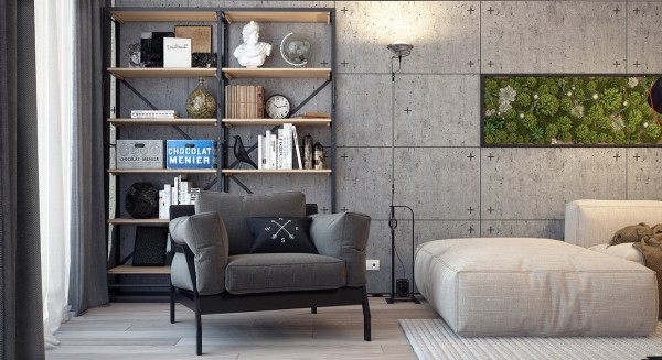 Texture is also important in this design, from the cushy sofa and armchair to the varied texture of the wall planting and of course the smooth wood floors and concrete walls.